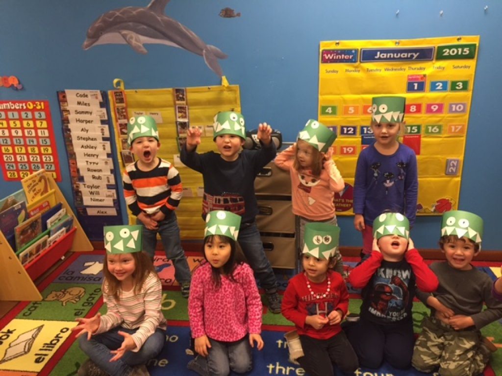 The preschoolers made Dinosaur Hats! ROAR!